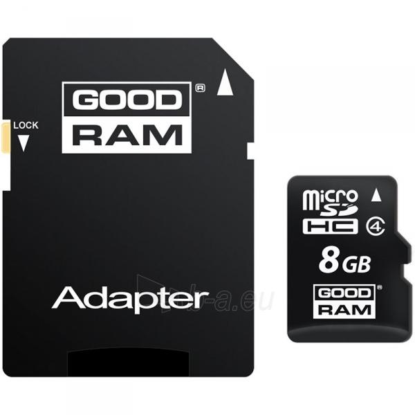 Atmintinė GOODRAM 8GB MICRO CARD class 4 + adapter Paveikslėlis 1 iš 1 310820014527