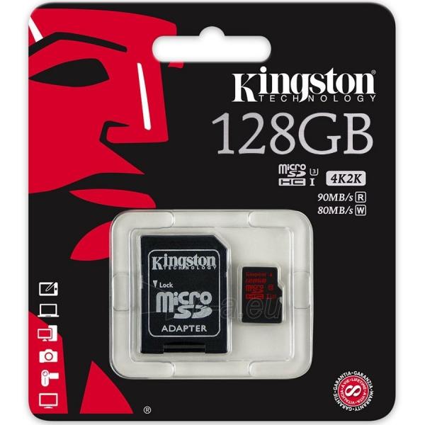 Atmintinė KINGSTON 128GB microSDXC UHS-I Class U3 90MB/s read, 80MB/s write + SD Adapter Paveikslėlis 1 iš 1 310820014476