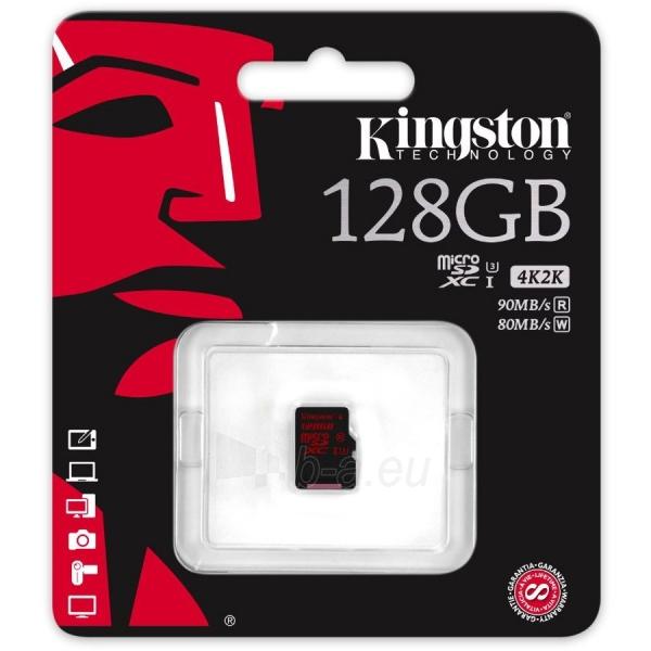 Atmintinė KINGSTON 128GB microSDXC UHS-I speed class 3 Single Pack w/o Adapter Lifetime Paveikslėlis 1 iš 1 310820014494