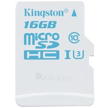 Atmintinė KINGSTON 16GB microSDHC UHS-I U3 Action Card; 90R/45W + SD Adapter Lifetime Paveikslėlis 1 iš 1 310820014502