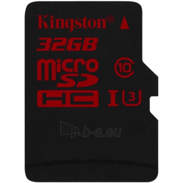 Atmintinė KINGSTON 32GB microSDHC UHS-I speed class 3 Single Pack w/o Adapter Paveikslėlis 1 iš 1 310820014445