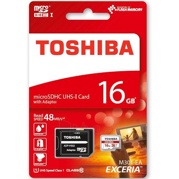 Atmintinė TOSHIBA 16GB microSD M301 EXCERIA R48 Paveikslėlis 1 iš 1 310820014447