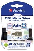 Atmintinė Verbatim USB DRIVE 3.0 OTG MICRO 64GB Paveikslėlis 1 iš 1 310820045051