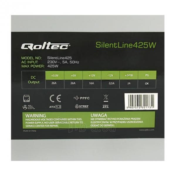 ATX maitinimo blokas Qoltec SilentLine 425W PFC BULK Paveikslėlis 2 iš 3 250255010487