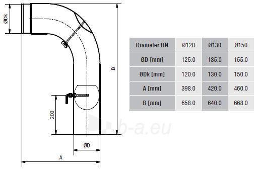 Aukšta alkūnė su sklende ir pravala KGSR150/90P-CZ2/W, pilka Paveikslėlis 2 iš 2 310820161627