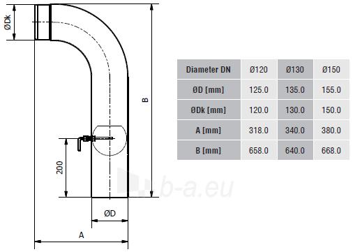 Aukšta elbow su sklende KGS150/90P-CZ2/WK,pilka Paveikslėlis 2 iš 2 310820161623