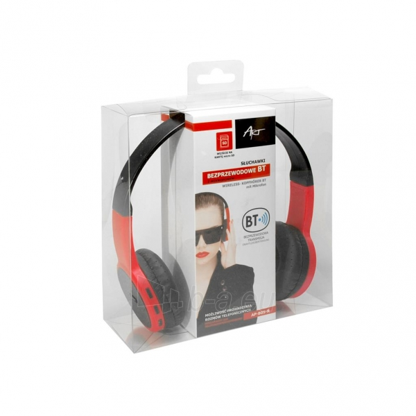 Ausinės ART Bluetooth Headphones with microphone AP-B05 black/red Paveikslėlis 5 iš 5 310820045933