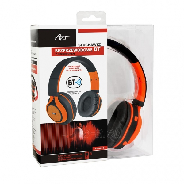 Ausinės ART Bluetooth Headphones with microphone AP-B04 black/orange Paveikslėlis 6 iš 7 310820017137