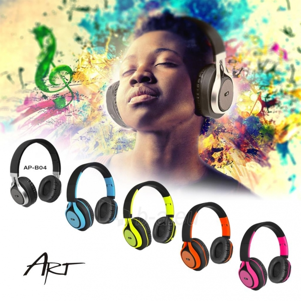 Ausinės ART Bluetooth Headphones with microphone AP-B04 black/orange Paveikslėlis 7 iš 7 310820017137