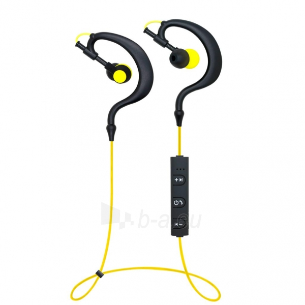 ART Bluetooth Headphones with microphone AP-B23 black/yellow sport (EARHOOK) Paveikslėlis 2 iš 4 250255091102