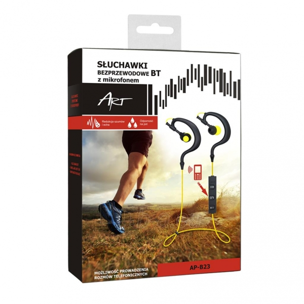 ART Bluetooth Headphones with microphone AP-B23 black/yellow sport (EARHOOK) Paveikslėlis 4 iš 4 250255091102