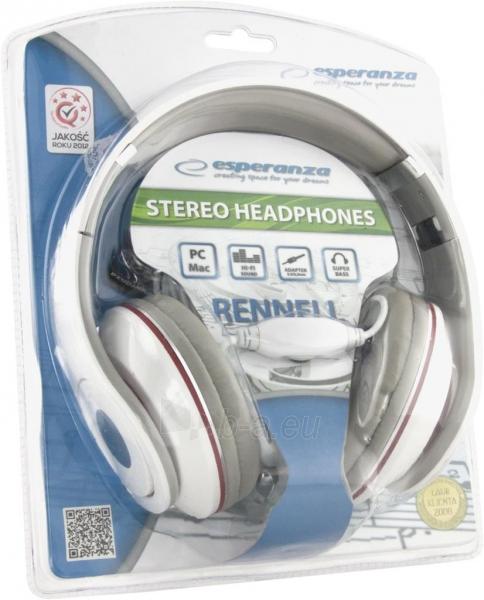 Audio/stereo ausinės Esperanza EH141W RENELL| 5m su garso reguliatoriumi | Balta Paveikslėlis 3 iš 3 250255090478