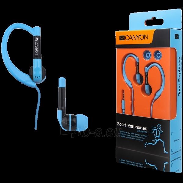 Ausinės Canyon sport earphones, over-ear fixation, inline microphone, blue Paveikslėlis 1 iš 1 250212002712