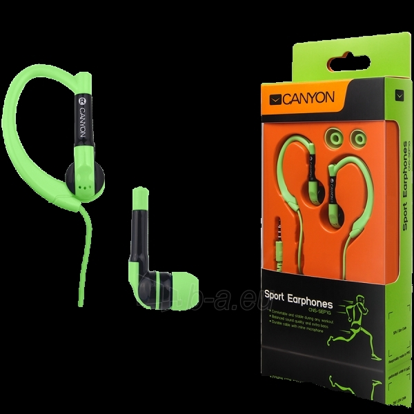 Canyon sport earphones, over-ear fixation, inline microphone, green Paveikslėlis 1 iš 1 250212002713