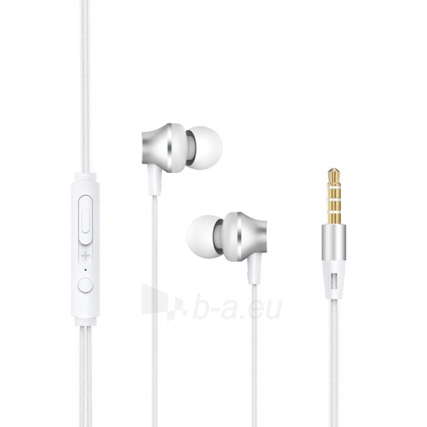 Ausinės Devia Metal In-ear Earphone with Remote and Mic (3.5mm) silver Paveikslėlis 1 iš 2 310820218369