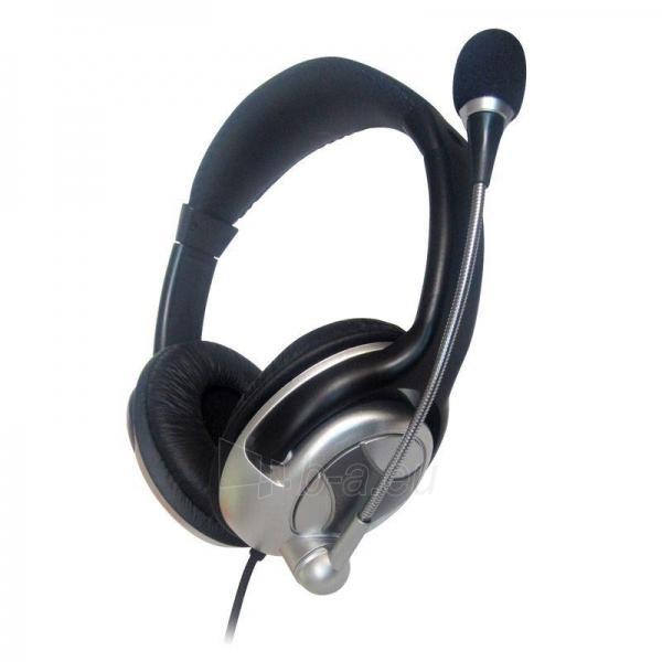 Gembird microphone & stereo headphones with volume control, black-silver Paveikslėlis 1 iš 2 250255090705
