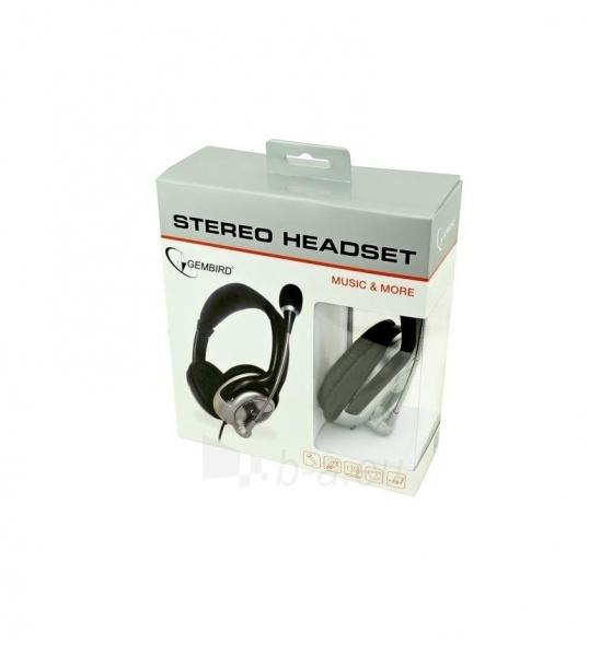 Gembird microphone & stereo headphones with volume control, black-silver Paveikslėlis 2 iš 2 250255090705