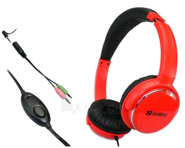 Ausinės su mikrofonu Sandberg Homen Street Raudonos Paveikslėlis 2 iš 3 250255090622