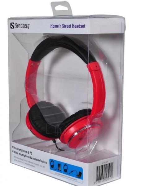 Ausinės su mikrofonu Sandberg Homen Street Raudonos Paveikslėlis 3 iš 3 250255090622
