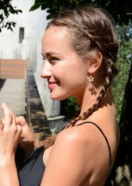 Auskarai Guess Gold-plated star earrings with UBE81302 crystals Paveikslėlis 3 iš 3 310820125679