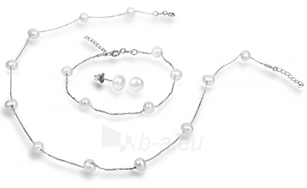 Auskarai JwL Luxury Pearls Set of Necklace and Earrings with Right Pearls JL0372 Paveikslėlis 1 iš 3 310820126791