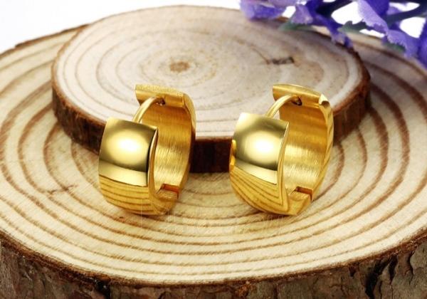 Auskarai Troli Wide, gold-plated steel earrings Paveikslėlis 3 iš 6 310820182242
