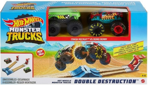 Automobilių trąsa GYC80 Hot Wheels Monster Trucks Double Destruction Play Set MATTEL . Paveikslėlis 4 iš 6 310820249564