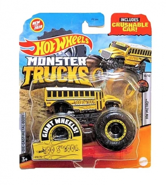 Automobiliukas FYJ44 / GJD88 Hot Wheels Monster Trucks 1:64 Scale Die-Cast Assortment with Giant Wheels Paveikslėlis 1 iš 1 310820230651