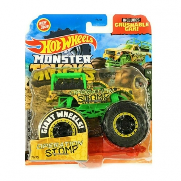 Automobiliukas FYJ44 / GJF12 Hot Wheels Monster Trucks 1:64 Scale Die-Cast Assortment with Giant Wheels Paveikslėlis 1 iš 1 310820230648