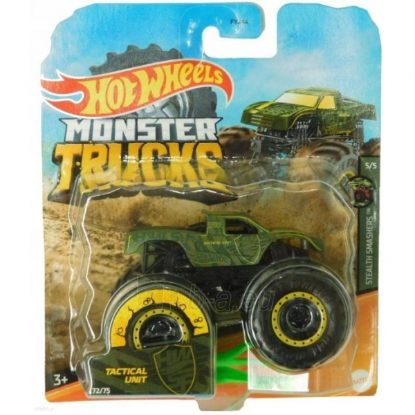 Automobiliukas FYJ44 / GJF13 Hot Wheels Monster Trucks 1:64 Scale Die-Cast Assortment with Giant Wheels Paveikslėlis 1 iš 1 310820230650