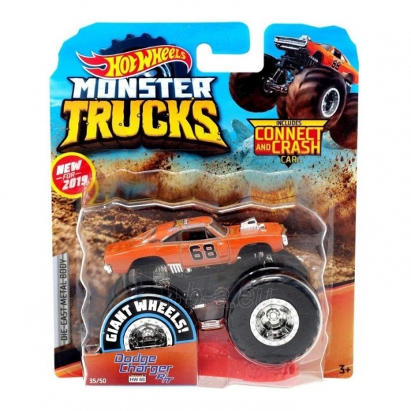Automobiliukas FYJ44 / GJF48 Hot Wheels Monster Trucks 1:64 Scale Die-Cast Assortment with Giant Wheels Paveikslėlis 1 iš 1 310820230649