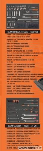 """BAHCO 1470K6BKFFC7 įrankių spintelė - vežimėlis su 215 vnt. įrankių 26""""-6 STALČIAI Paveikslėlis 2 iš 3 310820050011"""