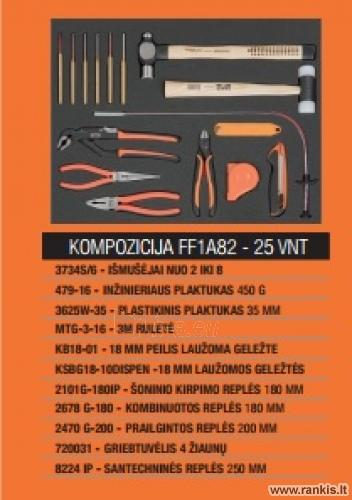 """BAHCO 1470K6BKFFC7 įrankių spintelė - vežimėlis su 215 vnt. įrankių 26""""-6 STALČIAI Paveikslėlis 3 iš 3 310820050011"""
