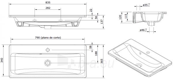 Baldinis praustuvas Look 832x360x148 mm su 1 skyle maišyt., tvirtinimo kompl., baltas Paveikslėlis 3 iš 3 310820165677