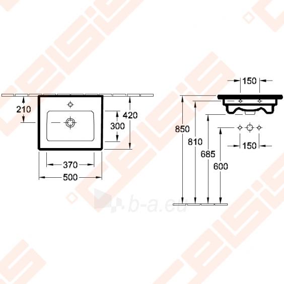 Baldinis praustuvas VILLEROY&BOCH Venticello 500x420 mm Paveikslėlis 5 iš 6 270711001176