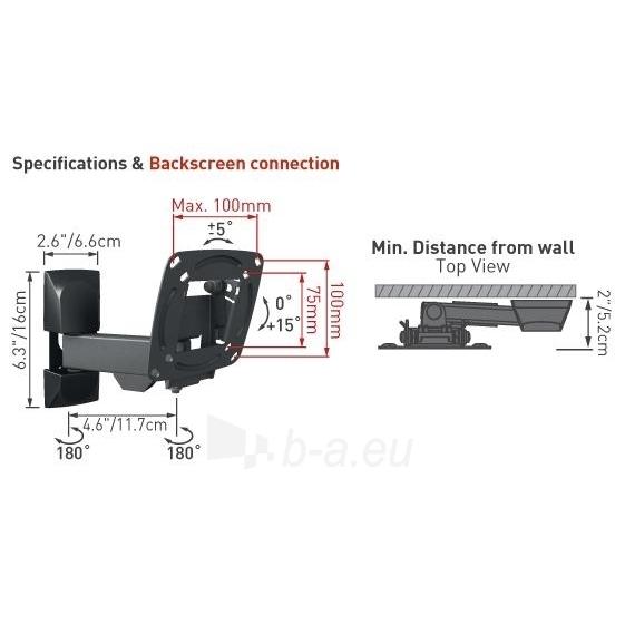 BARKAN E130.B 26'' LCD, 3 lankstų, sieninis, juodas Paveikslėlis 2 iš 3 250226200227