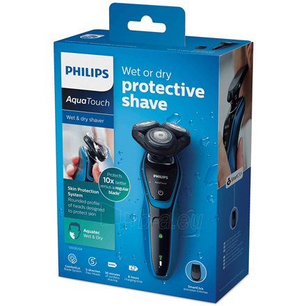 Barzdaskutė Philips Shaver S5050/04 Charging time 8 h, Operating time 30 min, Wet use, NiMH, Number of shaver heads/blades 3, Black/Blue, Cordless Paveikslėlis 6 iš 6 310820222377