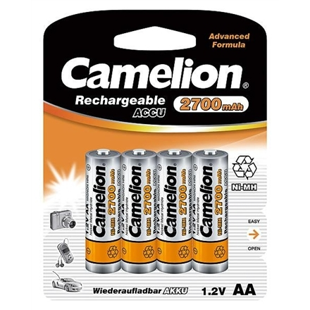 Camelion Rechargeable Batteries Ni-MH AA (R06), 2700 mAh, 4-pack + battery cases for 4 batteries Paveikslėlis 1 iš 1 250222040600566