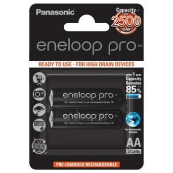 Eneloop PRO Ready To Use Rechargeable Battery 2x AA BK-3HCDE-2BE (2500mAh)/ Recharge 500 Times/ for high drain devices Paveikslėlis 1 iš 1 310820004402