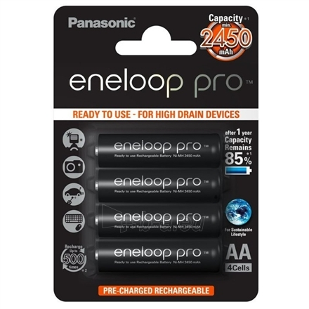 Baterija Eneloop Ready To Use Rechargeable Battery 4x AA BK-3HCCE-4BE (2450mAh)/ Recharge 500 Times Paveikslėlis 1 iš 1 250222040601669