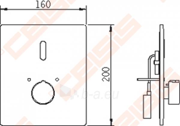 Bekontaktinio sienoje montuojamo termostatinio dušo maišytuvo su rankenėlėje įtaisytu temperatūros ribotuvu išorinė dekoratyvinė dalis ORAS Electra Paveikslėlis 4 iš 4 270721000547