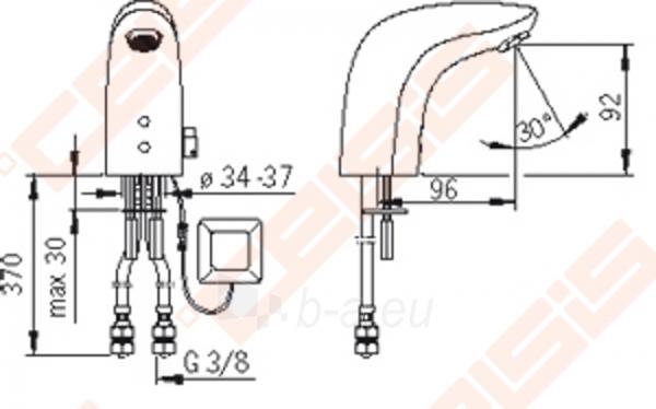 Bekontaktinis praustuvo maišytuvas ORAS Electra su temperatūros reguliavimo rankenėle, 230V/12V Paveikslėlis 3 iš 4 270711001179