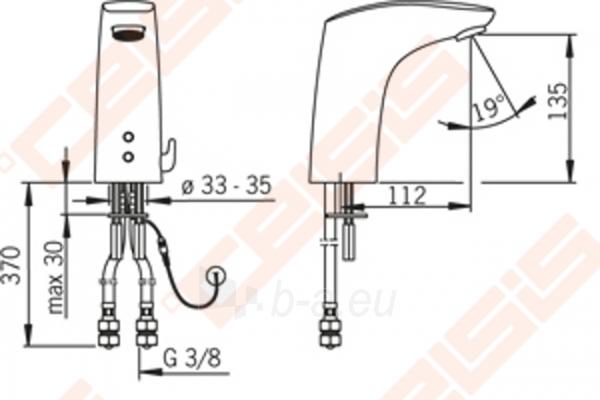 Bekontaktis praustuvo maišytuvas ORAS Electra su temperatūros reguliavimo rankenėle, 12 V Paveikslėlis 2 iš 2 270722000849