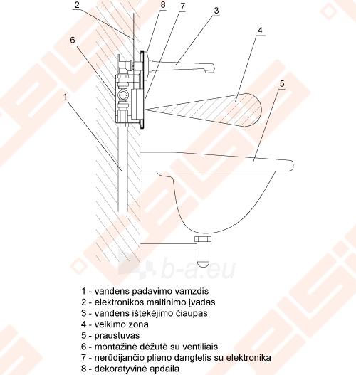 Bekontaktis praustuvo maišytuvas SANELA su vienu vandens srautu, reaguoja į rankų priartinimą, su 250 mm snapeliu Paveikslėlis 6 iš 6 270711001204