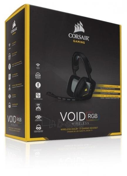 Bevielės žaidimo ausinės Corsair VOID 7.1, RGB lighting, CUE control - juodos Paveikslėlis 1 iš 4 250255091219