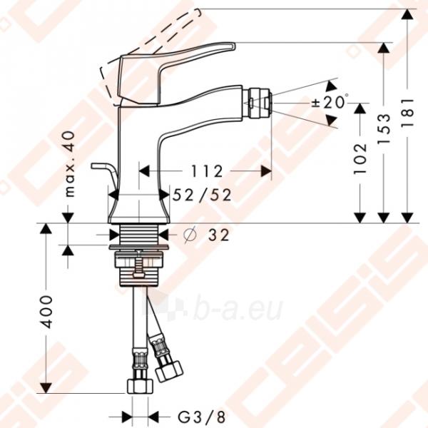 Bidė maišytuvas HANSGROHE Metris Classic su dugno vožtuvu Paveikslėlis 5 iš 6 270724000142