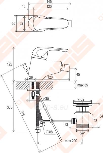 Bidė maišytuvas RAVAK Rosa RS 055.00 su dugno vožtuvu Paveikslėlis 3 iš 3 270724000153