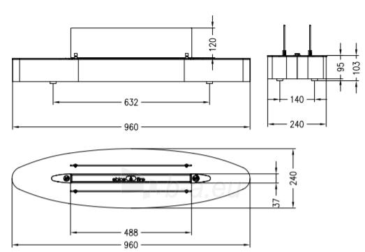 Bio židinys Ebios-fire Elipse Base, šlifuoto nerūdijančio plieno paviršius Paveikslėlis 2 iš 2 310820236043