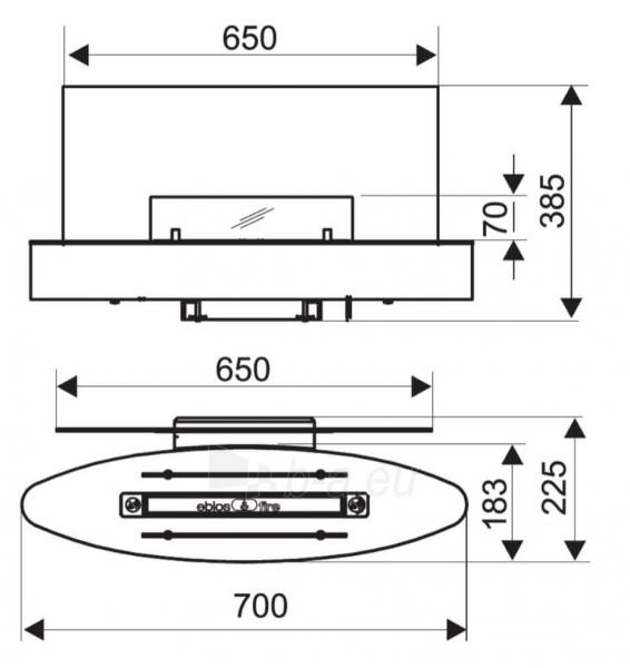 Bio židinys Ebios-fire Elipse Wall Mini, chromas Paveikslėlis 2 iš 2 310820236035