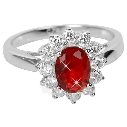 Brilio Silver sidabrinias ring su raudonu kristalu 5121615R (Dydis: 58 mm) Paveikslėlis 1 iš 4 310820041116